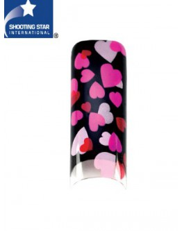 Pointes 'Airbrush' - Coeurs rose/pte noire - 70/bte
